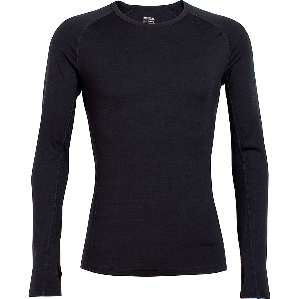 Icebreaker Mens Zone Long Sleeve Crew M - Black/Monsoon - Icebreaker Mens Apparel - Apparel & Footwear, Men's Apparel