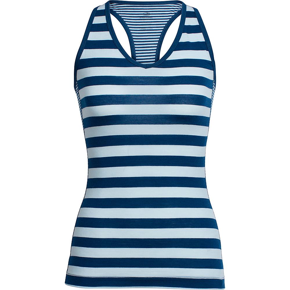 Icebreaker Womens Sprite Tank L - Ice Blue/Largo/Stripe - Icebreaker Womens Apparel - Apparel & Footwear, Women's Apparel