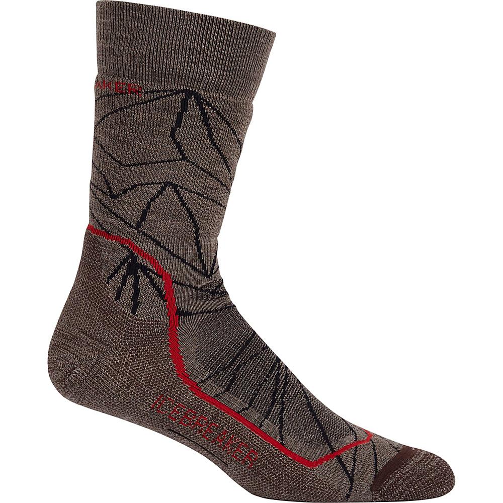 Icebreaker Mens Hike+ Medium Crew Sock L - Trail Heather/Rocket/Bark - Icebreaker Legwear/Socks - Fashion Accessories, Legwear/Socks