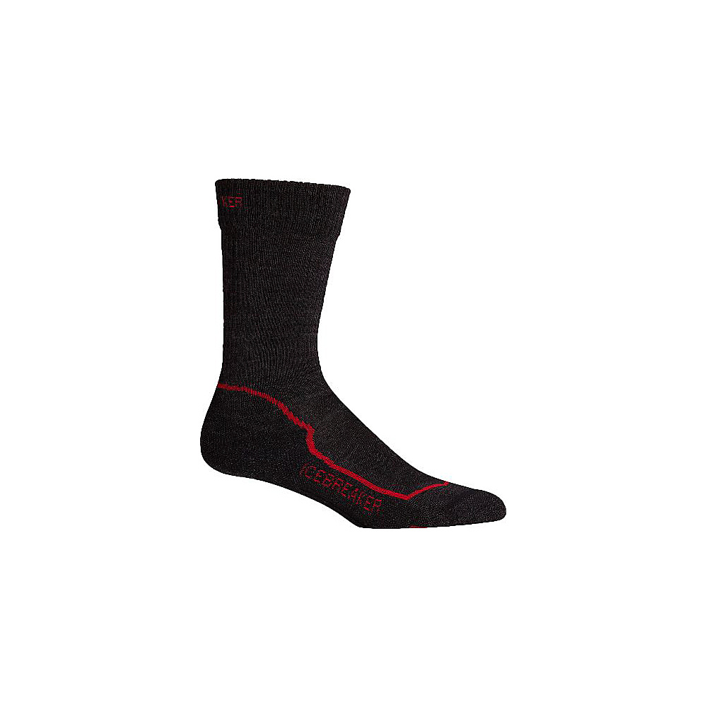 Icebreaker Mens Hike+ Light Crew Sock L - Jet Heather/Red/Black - Icebreaker Legwear/Socks - Fashion Accessories, Legwear/Socks