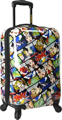 Loudmouth White Crak! 22 inch Expandable Carry-On Spinner Multi-Color & Black - Loudmouth Kids' Luggage