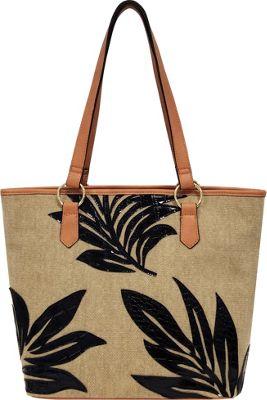 Bueno Linen Applique Tote Sand Linen - Bueno Fabric Handbags