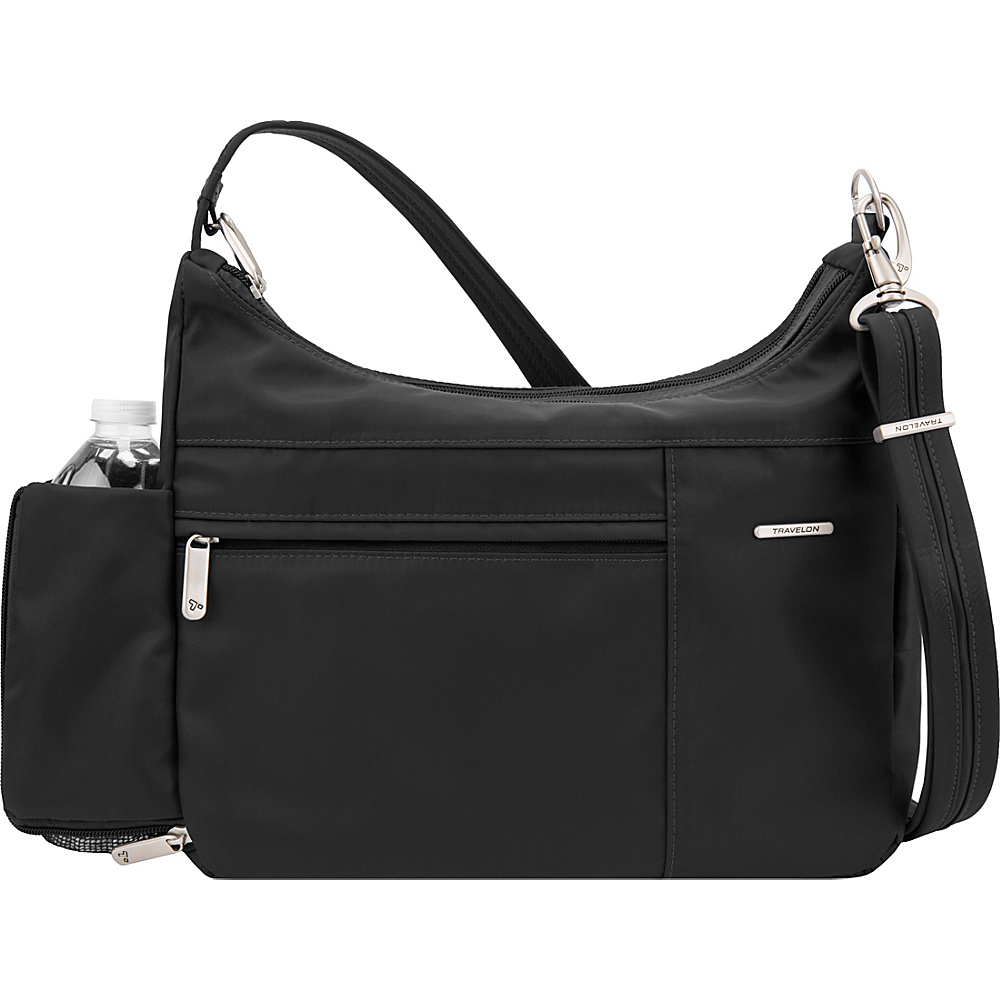 Travelon Anti-Theft Welted Medium Double Zip Crossbody - Exclusive Black - Travelon Fabric Handbags - Handbags, Fabric Handbags