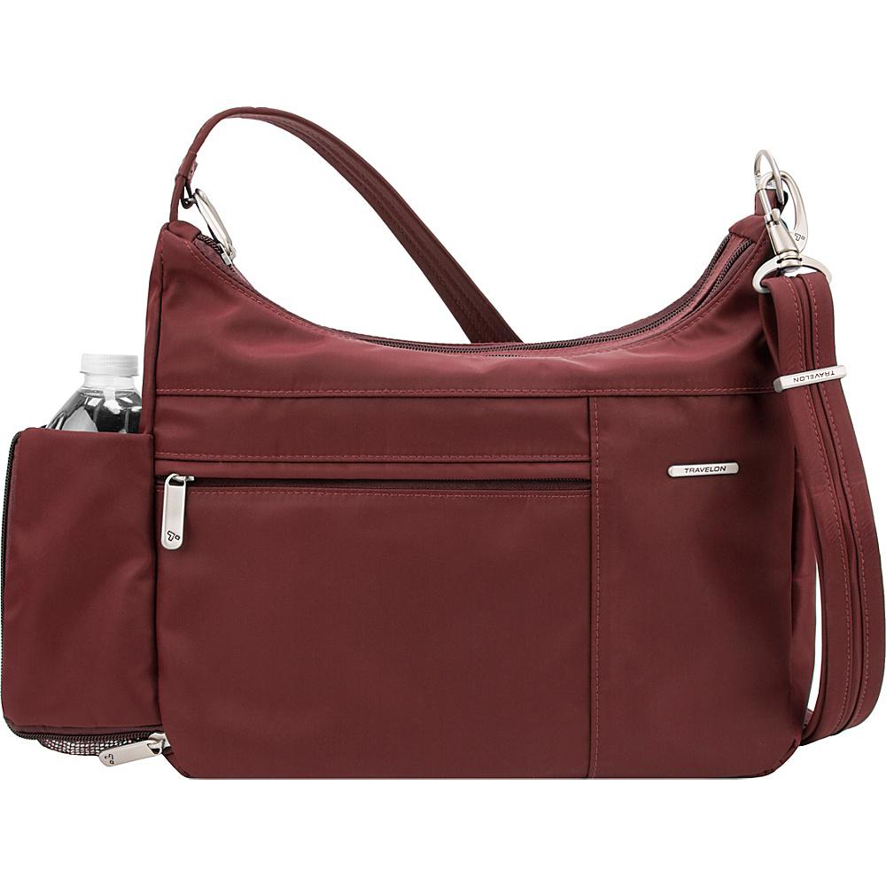 Travelon Anti-Theft Welted Medium Double Zip Crossbody - Exclusive Maroon - Travelon Fabric Handbags - Handbags, Fabric Handbags