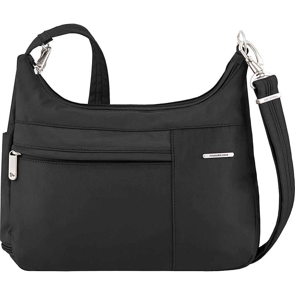 Travelon Anti-Theft Welted Medium Double Zip Crossbody - Exclusive Black/Dusty Rose Interior - Travelon Fabric Handbags - Handbags, Fabric Handbags