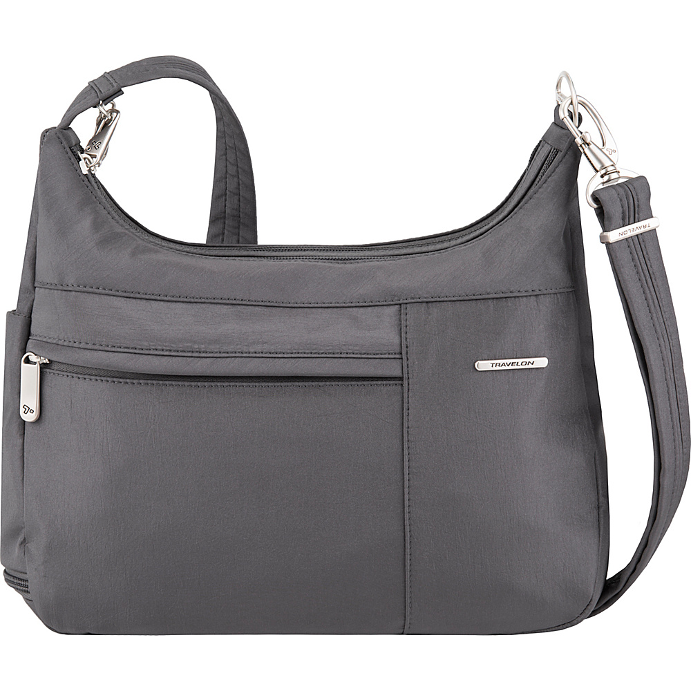 Travelon Anti-Theft Welted Medium Double Zip Crossbody - Exclusive Pewter/Dark Emerald Interior - Travelon Fabric Handbags - Handbags, Fabric Handbags