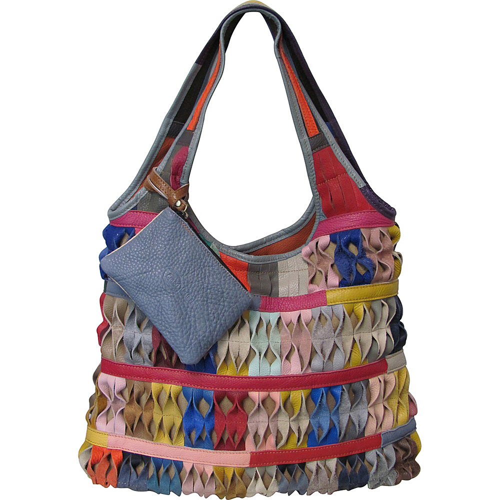 AmeriLeather Honeycomb Leather Tote Bag Rainbow - AmeriLeather Leather Handbags - Handbags, Leather Handbags
