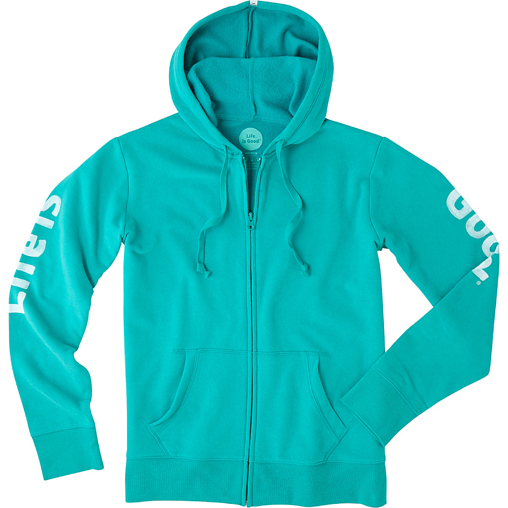 Life is good Womens Go-To Zip Hoodie XS - Bright Teal - Life is good Womens Apparel - Apparel & Footwear, Women's Apparel