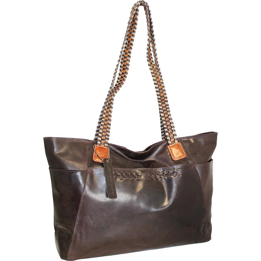 Nino Bossi Paloma Leather Tote Chocolate - Nino Bossi Leather Handbags - Handbags, Leather Handbags