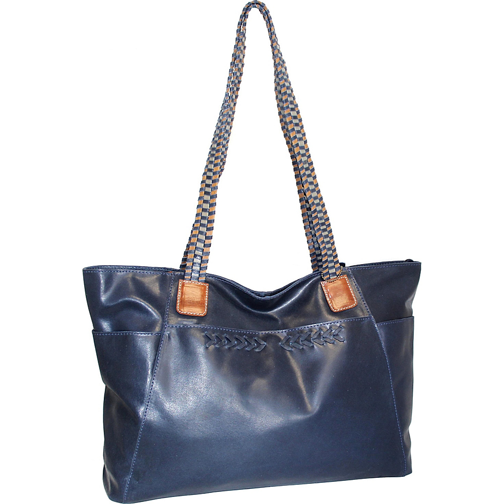 Nino Bossi Paloma Leather Tote Denim - Nino Bossi Leather Handbags - Handbags, Leather Handbags