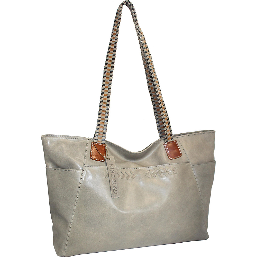Nino Bossi Paloma Leather Tote Stone - Nino Bossi Leather Handbags - Handbags, Leather Handbags