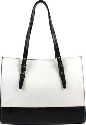Emilie M Dakota Shopper White/Black - Emilie M Manmade Handbags