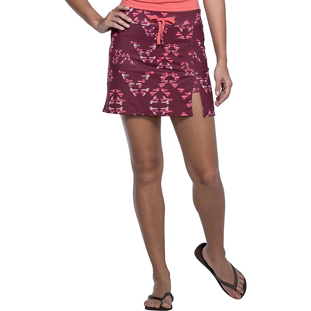 Toad & Co Aquaflex Skort XS - 5in - Sangria Water Print - Toad & Co Womens Apparel - Apparel & Footwear, Women's Apparel