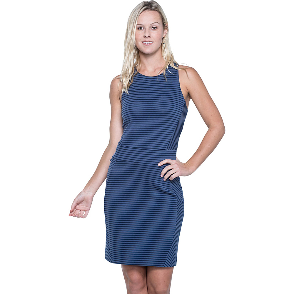 Toad & Co Transita Dress L - Indigo Stripe - Toad & Co Womens Apparel - Apparel & Footwear, Women's Apparel