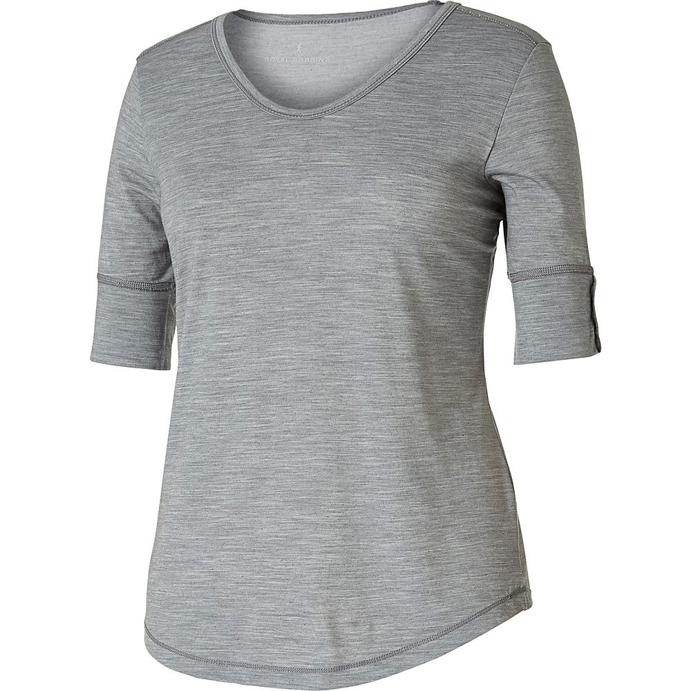 Royal Robbins Womens Merinolux V-Neck Tee XL - Light Pewter - Royal Robbins Womens Apparel - Apparel & Footwear, Women's Apparel
