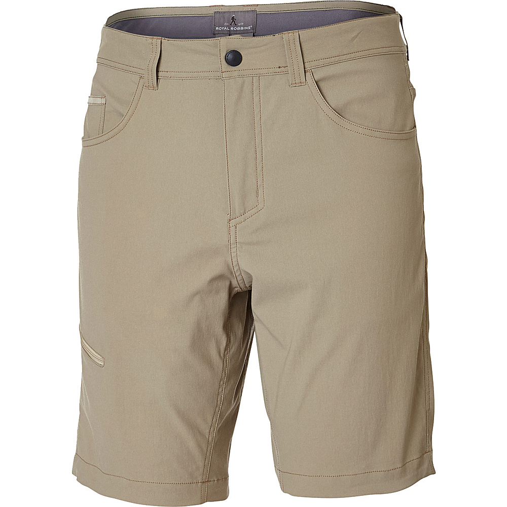 Royal Robbins Mens Alpine Road Short 35 - 10in - Khaki - Royal Robbins Mens Apparel - Apparel & Footwear, Men's Apparel