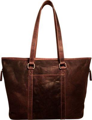 Jack Georges Voyager Zip Top Tote Bag Brown - Jack Georges Leather Handbags