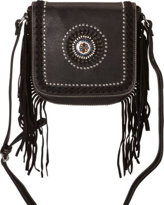 Montana West Fringe Crossbody with Colorful Concho Black - Montana West Manmade Handbags
