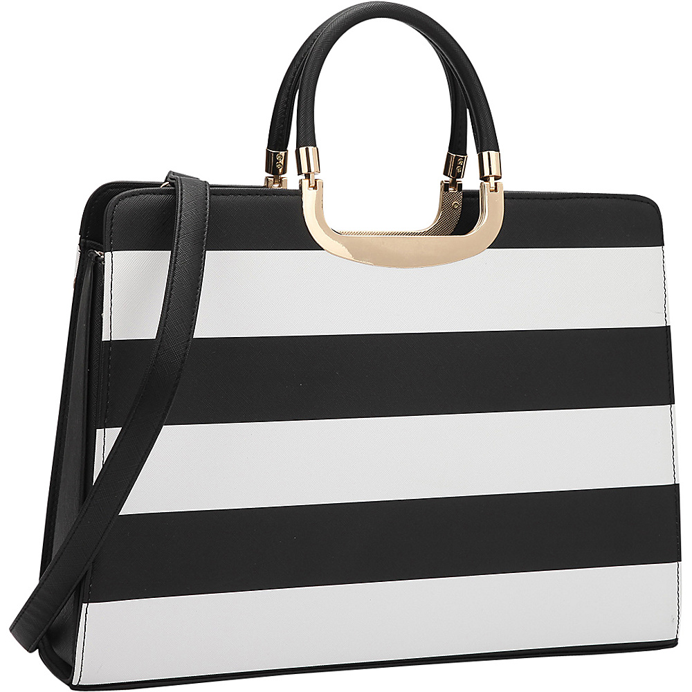 Dasein Patent Striped Croco Briefcase Satchel Black/White - Dasein Manmade Handbags - Handbags, Manmade Handbags