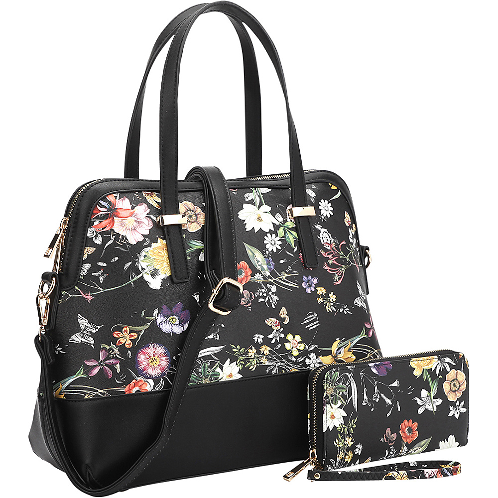 Dasein Leather Satchel with Matching Wallet Black Flower - Dasein Manmade Handbags - Handbags, Manmade Handbags