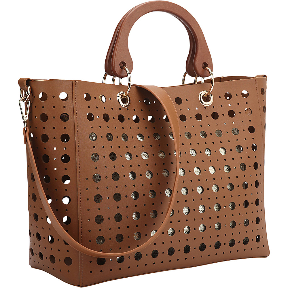 Dasein 2 in 1 Fashion Tote Bag with Cut Out Design Brown - Dasein Manmade Handbags - Handbags, Manmade Handbags