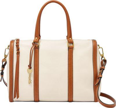 Fossil Kendall Large Satchel Vanilla - Fossil Leather Handbags