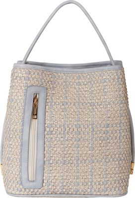 Samoe Samoe Classic Convertible Handbag - Snakeskin Powder Blue and White Snakeskin - Samoe Manmade Handbags