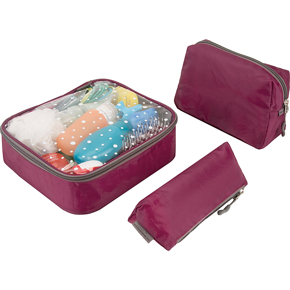 Travelon 3 Piece Toiletry Packing Set Wineberry - Travelon Packing Aids - Travel Accessories, Packing Aids