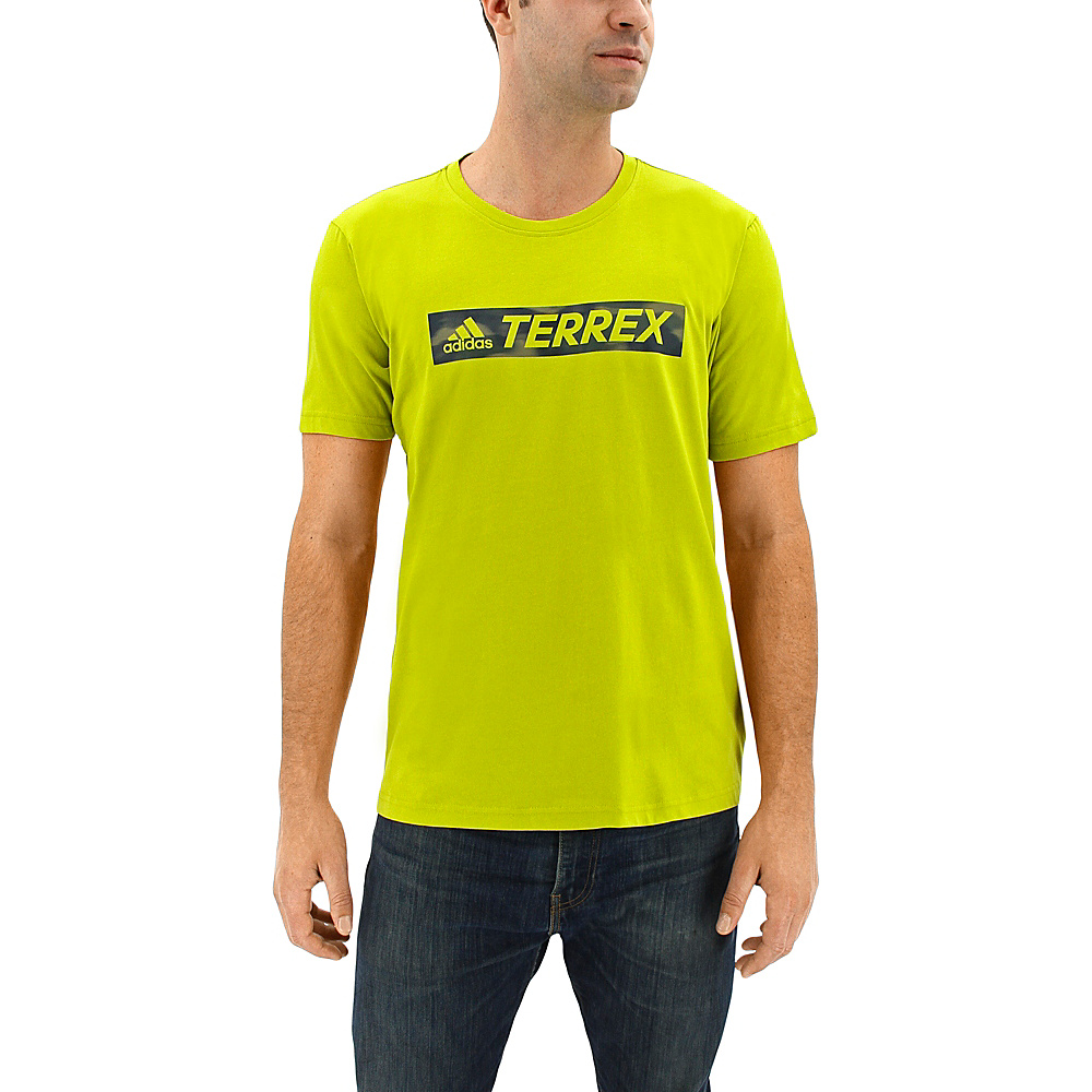 adidas outdoor Mens Logo Bar Tee L - Unity Lime - adidas outdoor Mens Apparel - Apparel & Footwear, Men's Apparel