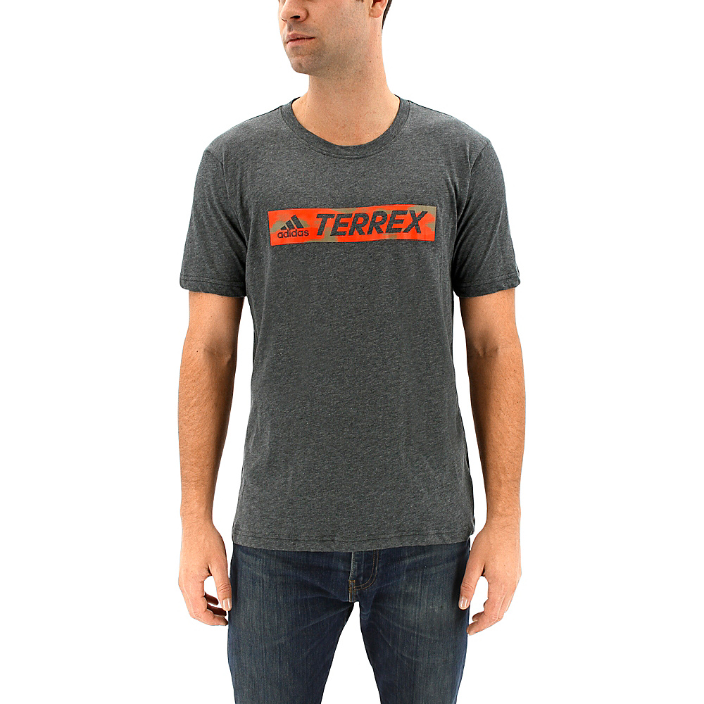 adidas outdoor Mens Logo Bar Tee M - Dark Grey Heather - adidas outdoor Mens Apparel - Apparel & Footwear, Men's Apparel