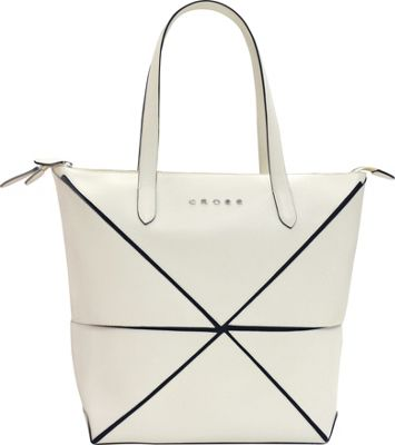 Cross Women's Origami Leather Collapsible Bag Ivory - Cross Leather Handbags