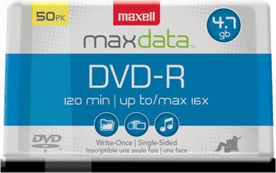 Maxell DVD-R 4.7GB Write-Once, 16x Recordable Disc (Spindle Pack of 50) Clear - Maxell Electronic Accessories 10571143