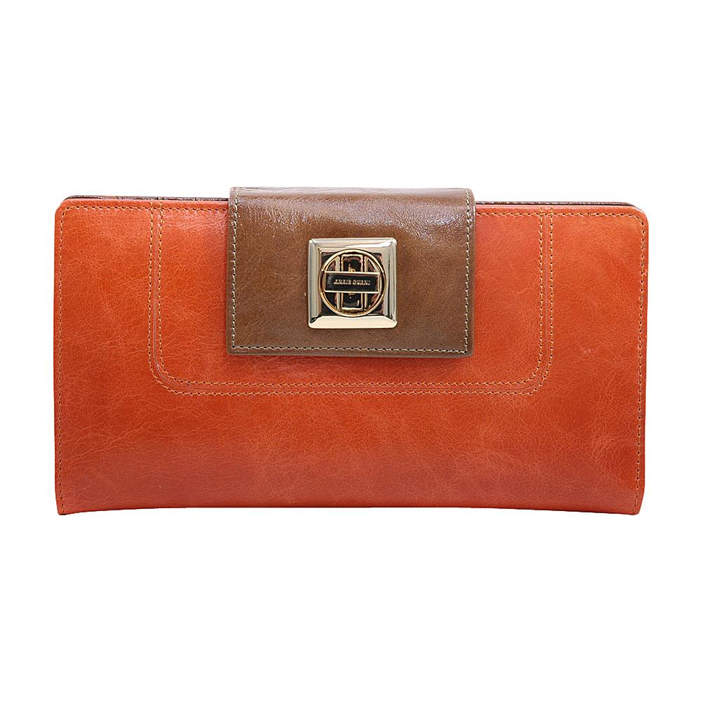Dasein Womens Two-Toned Checkbook Wallet with Twist Lock Closure Orange/Brown - Dasein Womens Wallets - Women's SLG, Women's Wallets