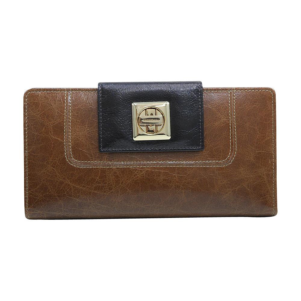 Dasein Womens Two-Toned Checkbook Wallet with Twist Lock Closure Brown/Deep Brown - Dasein Womens Wallets - Women's SLG, Women's Wallets