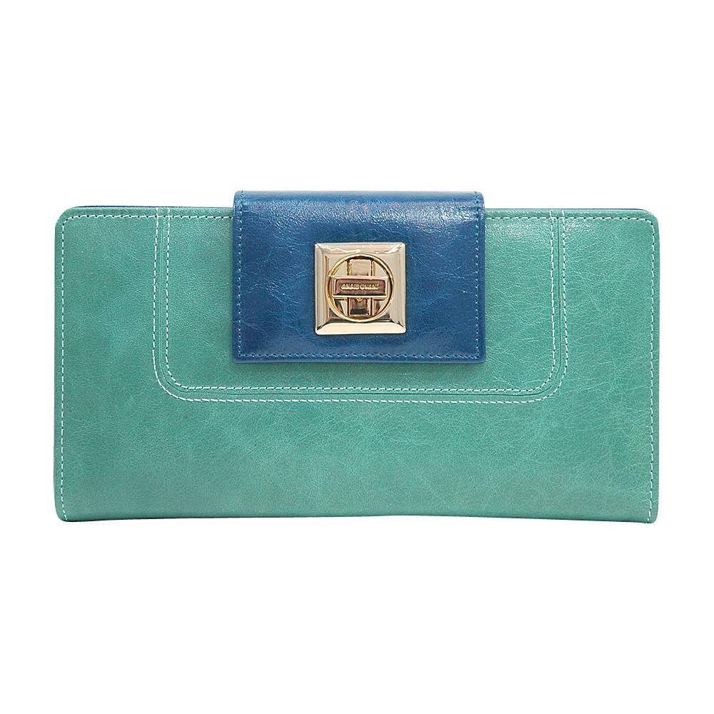 Dasein Womens Two-Toned Checkbook Wallet with Twist Lock Closure Light Green/Blue - Dasein Womens Wallets - Women's SLG, Women's Wallets