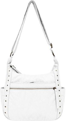 Bueno Washed Elephant Grain Hobo White - Bueno Manmade Handbags