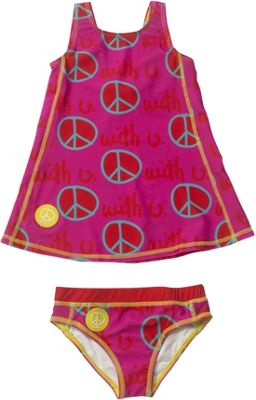 Biglove Kids Swim Dress & Pantie 2T - Peace - Biglove Women's Apparel