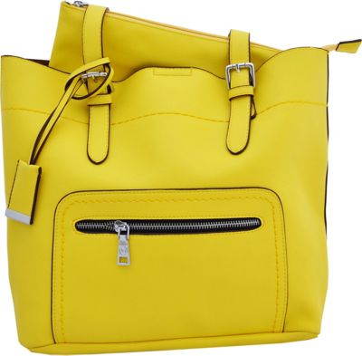 MoDa Buttersoft Shoulder Bucket Tote Yellow - MoDa Manmade Handbags