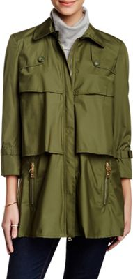 Rolo & Ale Aylin 3/4 Sleeve Tiered Zip Up Trench Coat M - Army Green - Rolo & Ale Women's Apparel