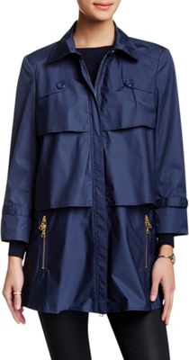 Rolo & Ale Aylin 3/4 Sleeve Tiered Zip Up Trench Coat XS - Navy - Rolo & Ale Women's Apparel