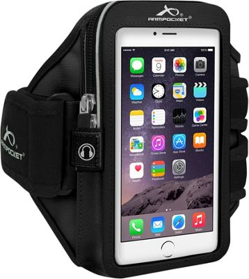 Armpocket MEGA i-40 Multi-Compartment Armband for Devices up to 6.5 inch - Large Strap Length Black - Armpocket Electronic Cases
