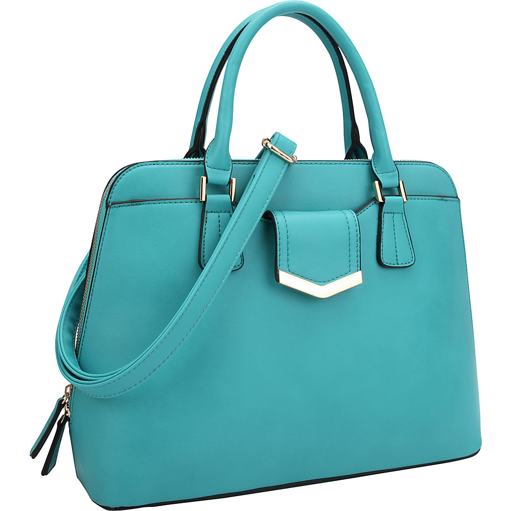 Dasein Medium Satchel with Decorative Front Gold Plated Hinge Blue - Dasein Gym Bags - Sports, Gym Bags