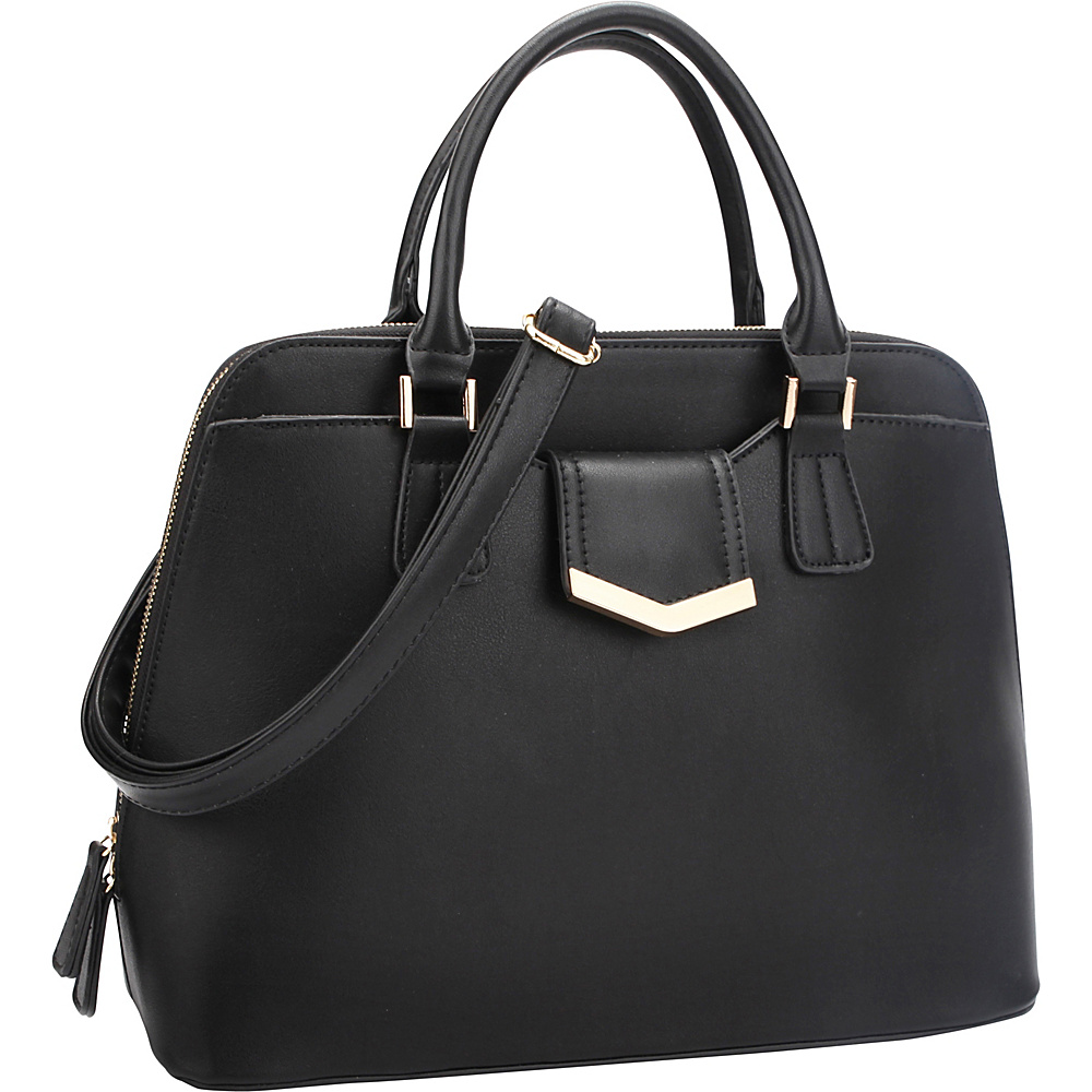 Dasein Medium Satchel with Decorative Front Gold Plated Hinge Black - Dasein Gym Bags - Sports, Gym Bags