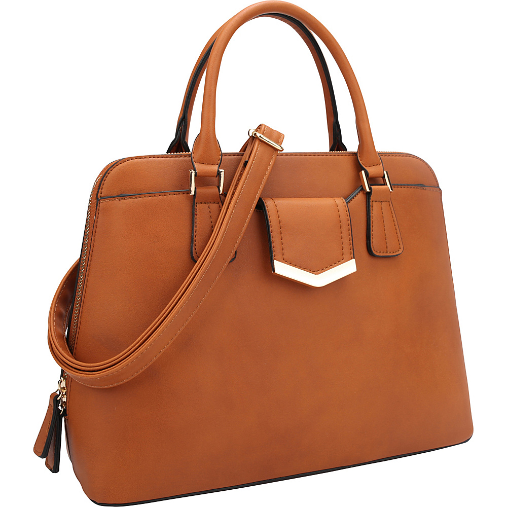 Dasein Medium Satchel with Decorative Front Gold Plated Hinge Brown - Dasein Gym Bags - Sports, Gym Bags