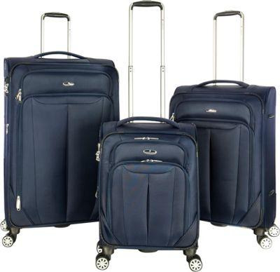 Gabbiano Toscana 3 Piece Expandable Softside Spinner Luggage Set Navy - Gabbiano Luggage Sets