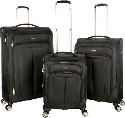 Gabbiano Toscana 3 Piece Expandable Softside Spinner Luggage Set Black - Gabbiano Luggage Sets