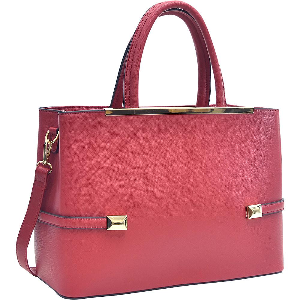 Dasein Framed Satchel Bag with Shoulder Strap Red - Dasein Manmade Handbags - Handbags, Manmade Handbags