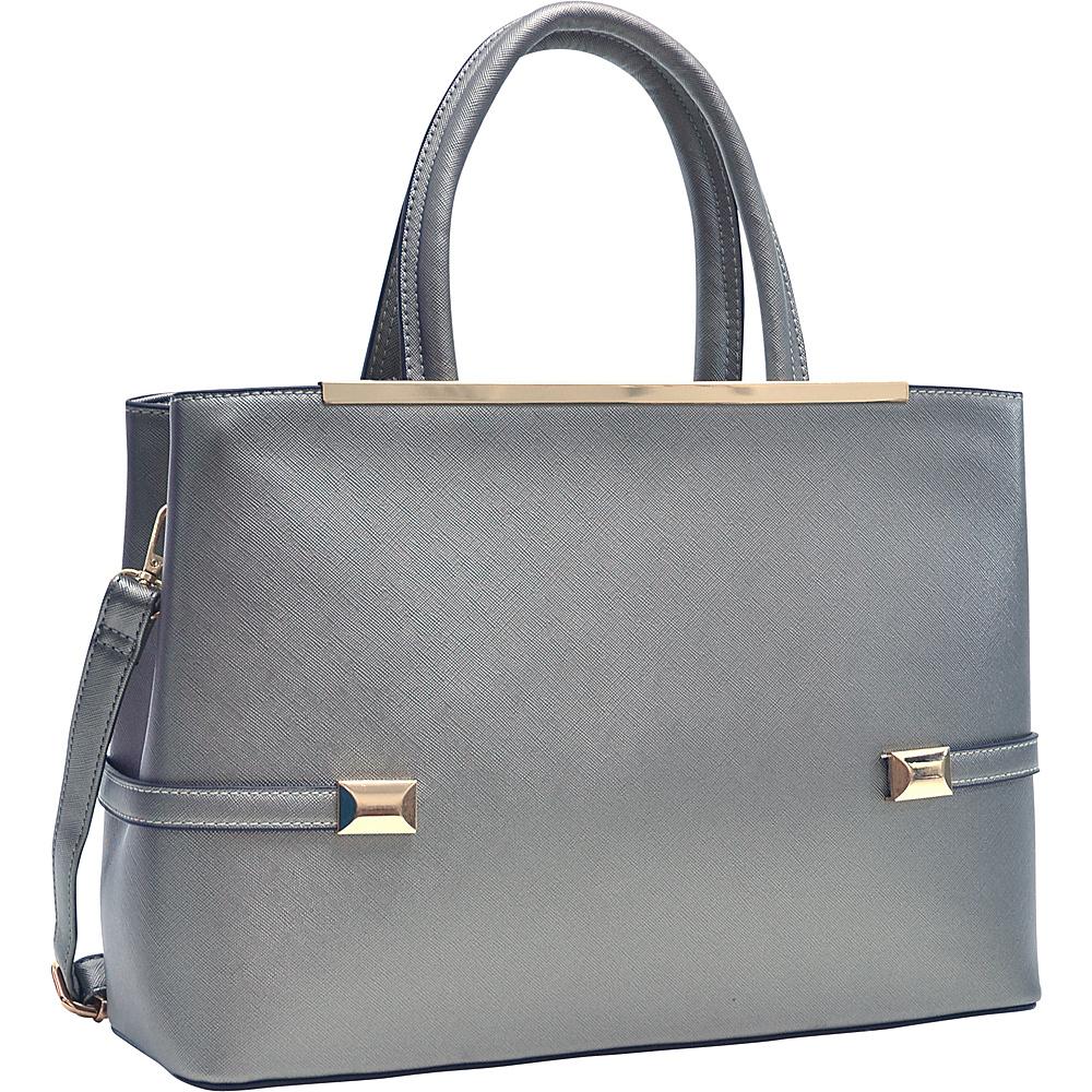 Dasein Framed Satchel Bag with Shoulder Strap Pewter - Dasein Manmade Handbags - Handbags, Manmade Handbags