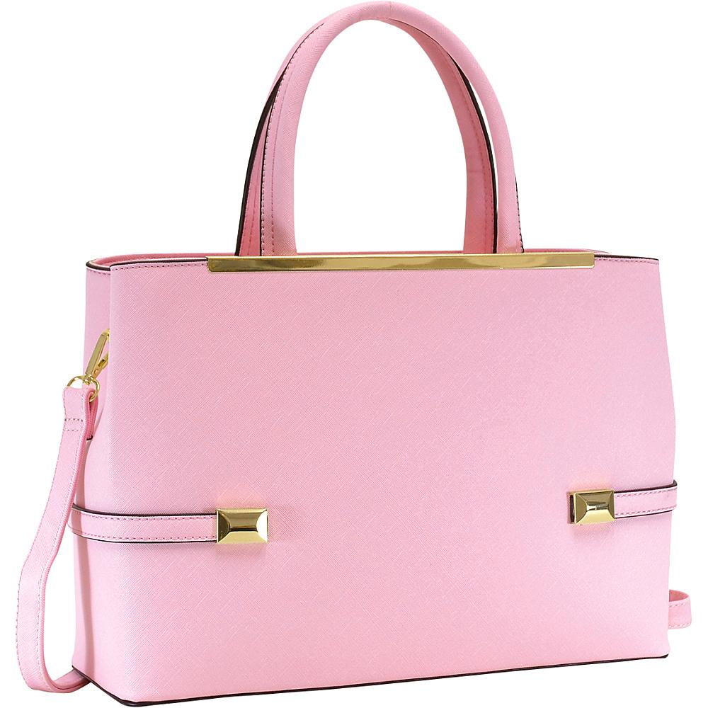 Dasein Framed Satchel Bag with Shoulder Strap Pink - Dasein Manmade Handbags - Handbags, Manmade Handbags