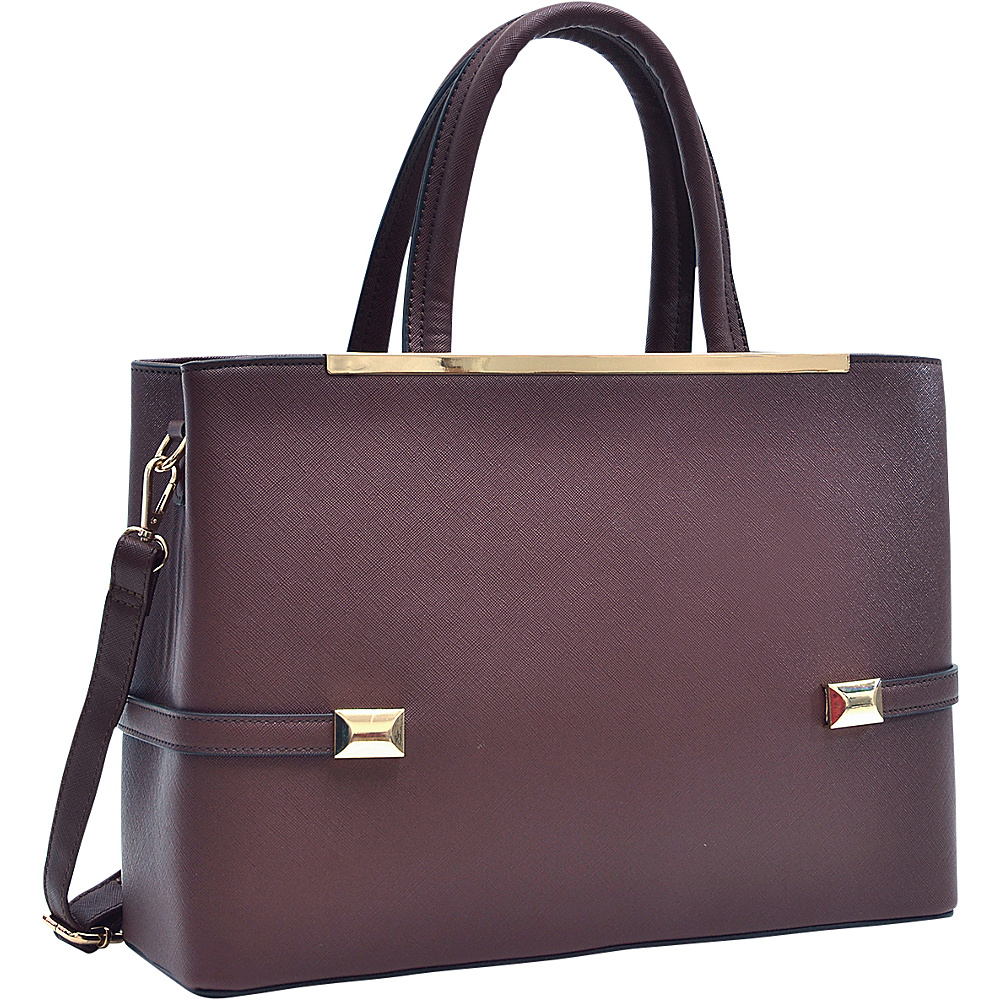 Dasein Framed Satchel Bag with Shoulder Strap Coffee - Dasein Manmade Handbags - Handbags, Manmade Handbags